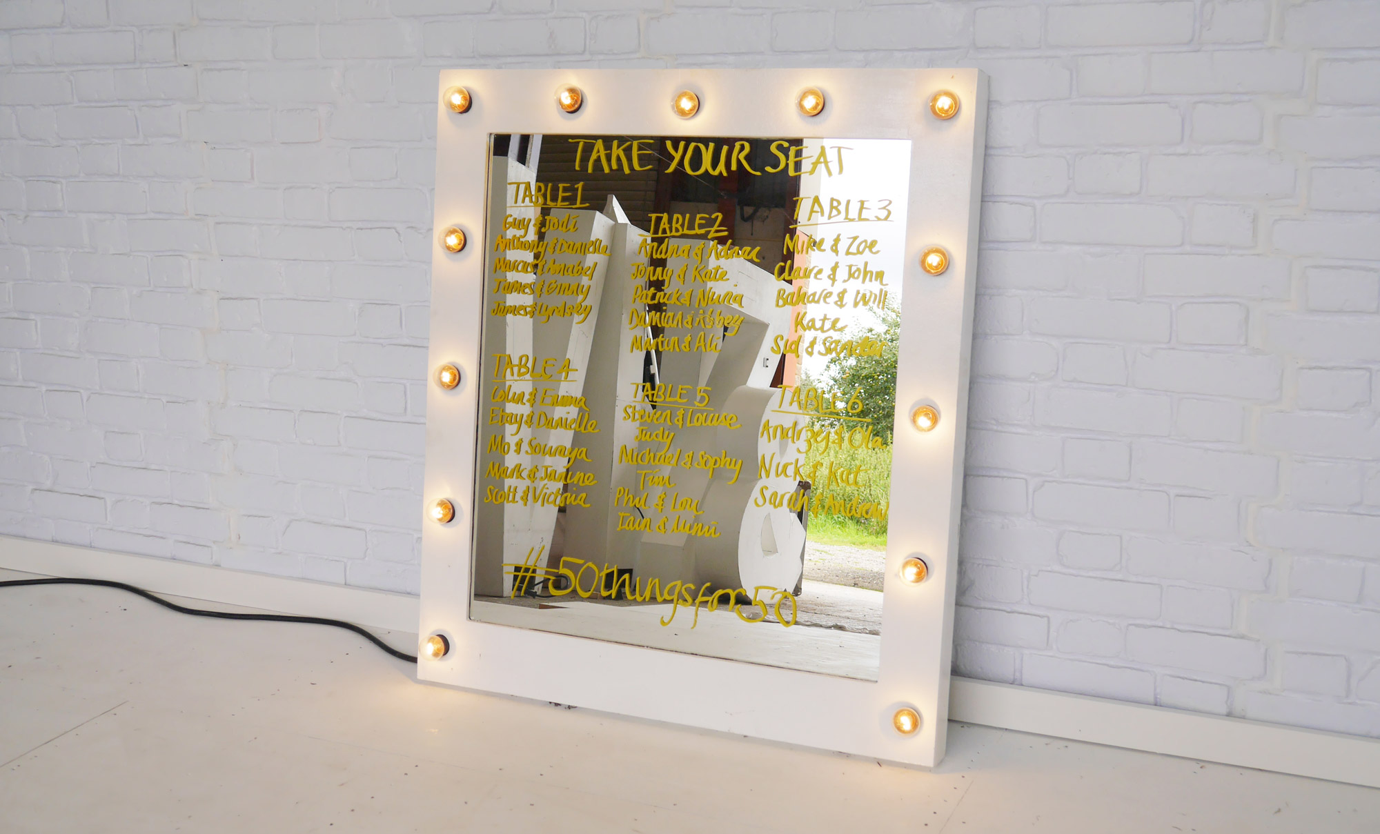 Giant Bulb Mirror For Hire | Vowed & Amazed