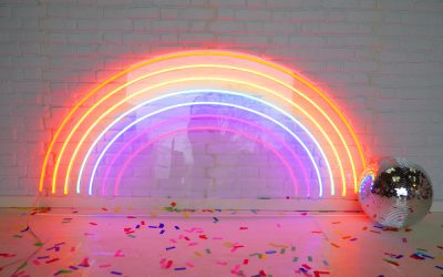 Over the rainbow with our neon hire sign